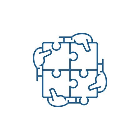 Icono de concepto de línea de sinergia empresarial. Sinergia empresarial sitio web vector plano signo, símbolo de contorno, ilustración.
