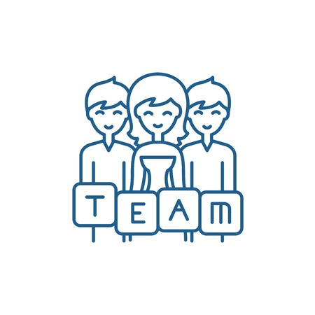 Business team line concept icon. Business team flat  vector website sign, outline symbol, illustration.