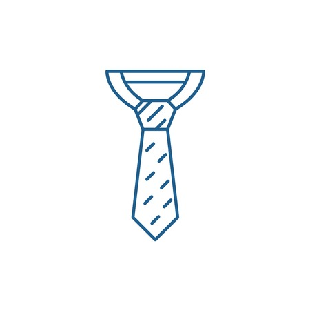 Business tie line concept icon. Business tie flat  vector website sign, outline symbol, illustration.