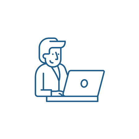 Businessman behind a laptop line concept icon. Businessman behind a laptop flat  vector website sign, outline symbol, illustration.