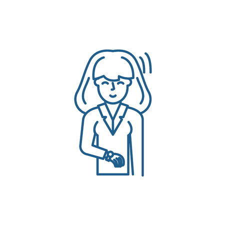 Businesswoman line concept icon. Businesswoman flat  vector website sign, outline symbol, illustration.