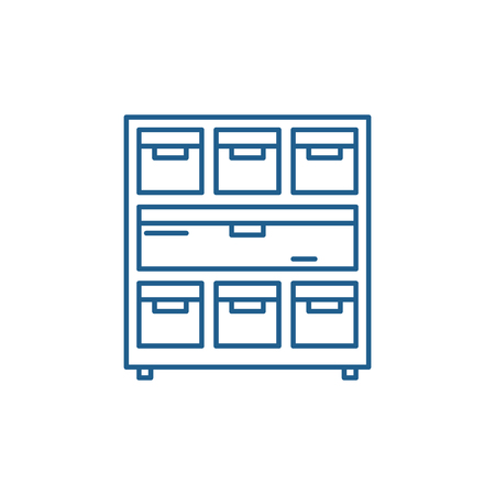 Cabinet with documents line concept icon. Cabinet with documents flat  vector website sign, outline symbol, illustration.