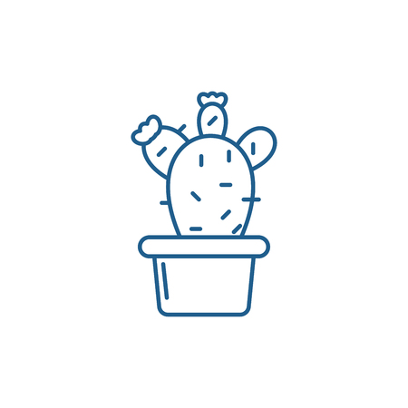 Cactus in a pot line concept icon. Cactus in a pot flat  vector website sign, outline symbol, illustration.