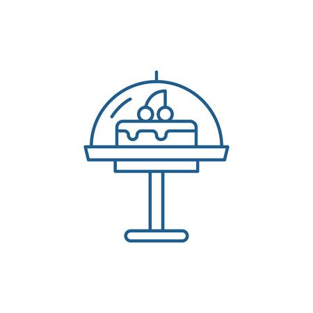 Cake line concept icon. Cake flat  vector website sign, outline symbol, illustration.