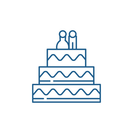 Cake for lovers line concept icon. Cake for lovers flat  vector website sign, outline symbol, illustration. Standard-Bild - 119917863