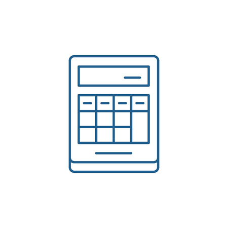 Calculation on the calculator line concept icon. Calculation on the calculator flat  vector website sign, outline symbol, illustration. Stock Illustratie