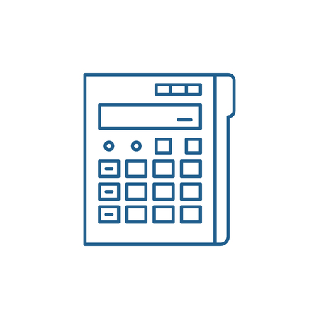 Calculator line concept icon. Calculator flat  vector website sign, outline symbol, illustration.