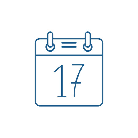 Calendar date line concept icon. Calendar date flat  vector website sign, outline symbol, illustration.