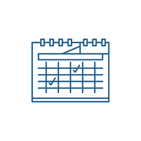Calendar planning line concept icon. Calendar planning flat  vector website sign, outline symbol, illustration.