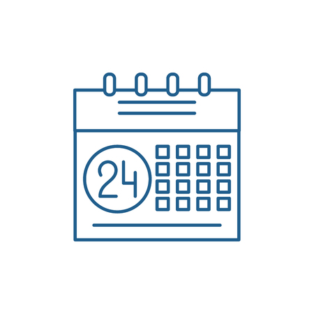 Calendar planning system line concept icon. Calendar planning system flat  vector website sign, outline symbol, illustration.