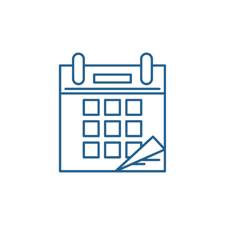 Calendar time line concept icon. Calendar time flat  vector website sign, outline symbol, illustration.
