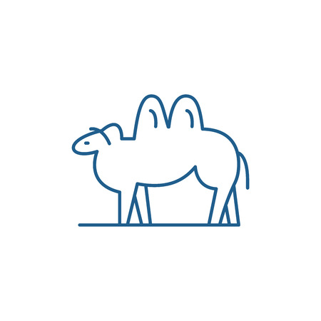 Camel line concept icon. Camel flat  vector website sign, outline symbol, illustration.