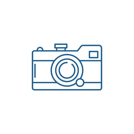 Camera line concept icon. Camera flat  vector website sign, outline symbol, illustration.