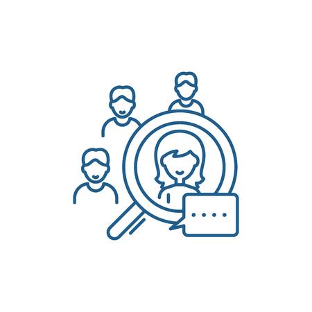 Icône de concept de ligne de sélection de candidats. Signe de site Web de vecteur plat de sélection de candidat, symbole du contour, illustration.