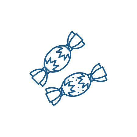 Candies line concept icon. Candies flat  vector website sign, outline symbol, illustration.