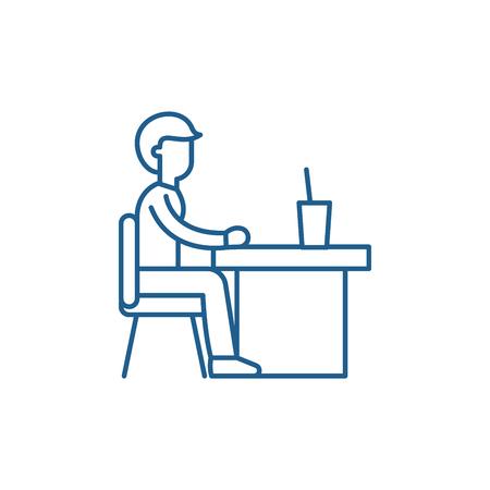 Icône de concept de ligne de cantine. Signe de site Web de vecteur plat de cantine, symbole du contour, illustration.