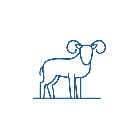 Capricorn line concept icon. Capricorn flat  vector website sign, outline symbol, illustration. Archivio Fotografico - 119917742