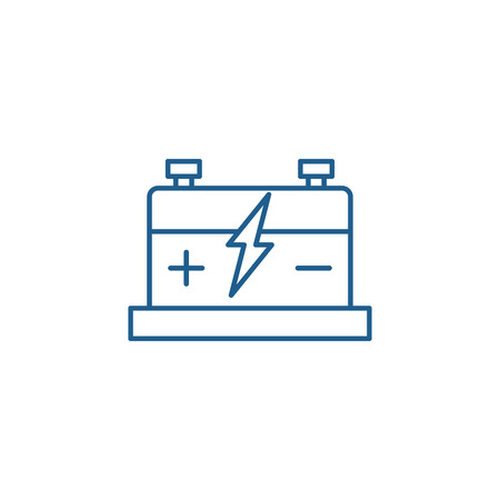 Car battery line concept icon. Car battery flat  vector website sign, outline symbol, illustration.
