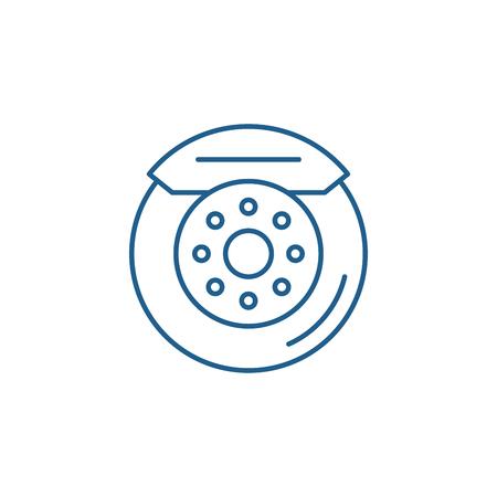 Icône de concept de ligne de plaquettes de frein de voiture. Plaquettes de frein de voiture vector plate signe site Web, symbole du contour, illustration.