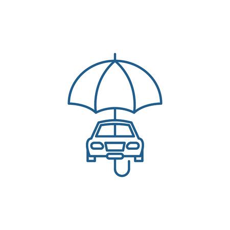 Car insurance line concept icon. Car insurance flat  vector website sign, outline symbol, illustration.