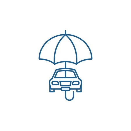 Car insurance line concept icon. Car insurance flat  vector website sign, outline symbol, illustration.