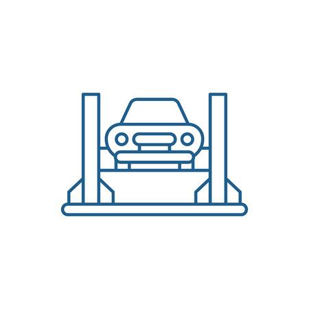 Car repair shop line concept icon. Car repair shop flat  vector website sign, outline symbol, illustration.