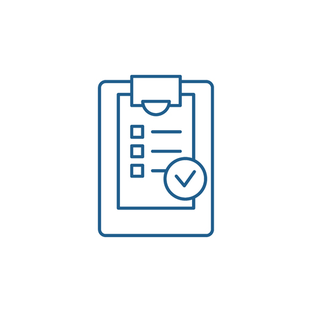Checklist line concept icon. Checklist flat  vector website sign, outline symbol, illustration.