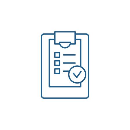 Checklist line concept icon. Checklist flat  vector website sign, outline symbol, illustration.