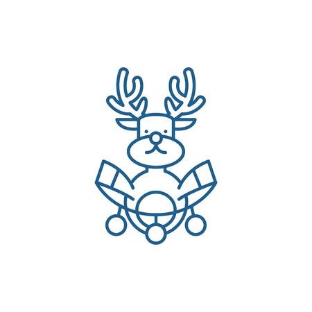 Christmas deer decoration line concept icon. Christmas deer decoration flat  vector website sign, outline symbol, illustration. Archivio Fotografico - 119917792