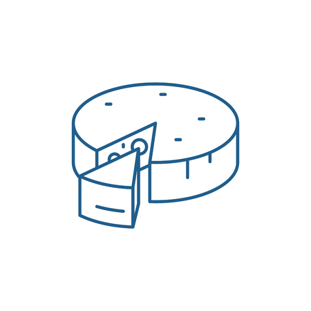 Cheese line concept icon. Cheese flat  vector website sign, outline symbol, illustration. Zdjęcie Seryjne - 119917703