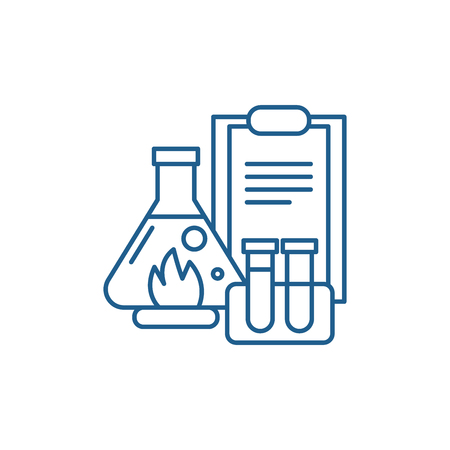 Chemical experiments line concept icon. Chemical experiments flat  vector website sign, outline symbol, illustration.
