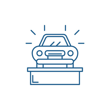 Car showroom line concept icon. Car showroom flat  vector website sign, outline symbol, illustration.  イラスト・ベクター素材