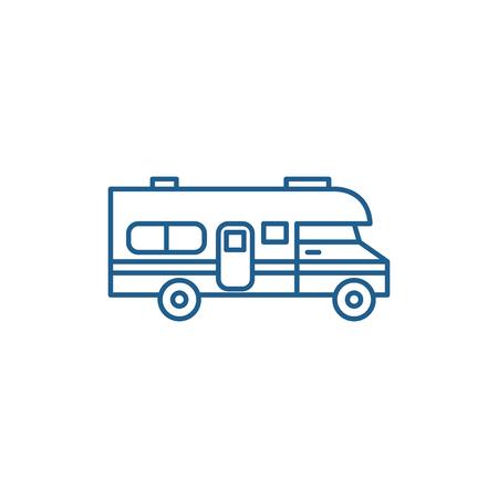 Caravan Auto Symbol Leitung Konzept. Caravan Auto flaches Vektor Website-Zeichen, Umrisssymbol, Illustration