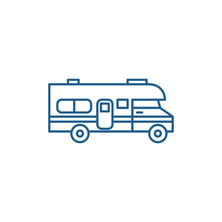 Caravan car line concept icon. Caravan car flat  vector website sign, outline symbol, illustration.