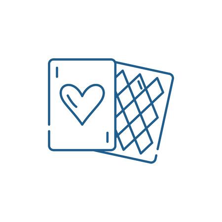 Card games line concept icon. Card games flat  vector website sign, outline symbol, illustration.