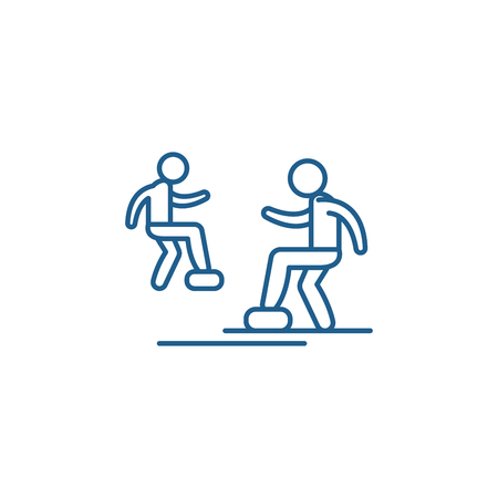 Cardio exercise line concept icon. Cardio exercise flat  vector website sign, outline symbol, illustration. Çizim