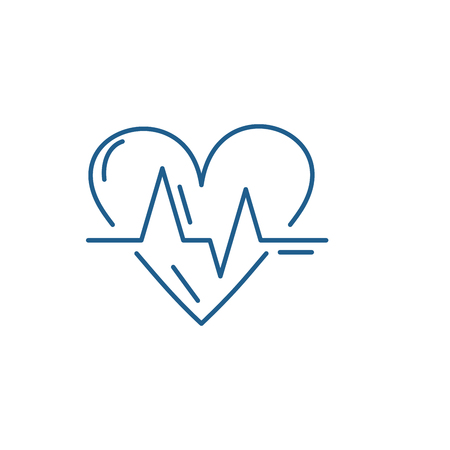 Cardiology line concept icon. Cardiology flat vector website sign, outline symbol, illustration.