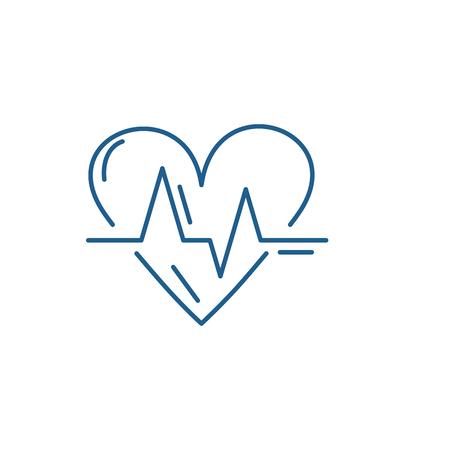 Cardiology line concept icon. Cardiology flat  vector website sign, outline symbol, illustration. Illustration