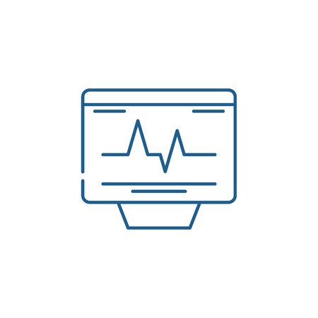Cardiovascular check line concept icon. Cardiovascular check flat  vector website sign, outline symbol, illustration. Ilustracja