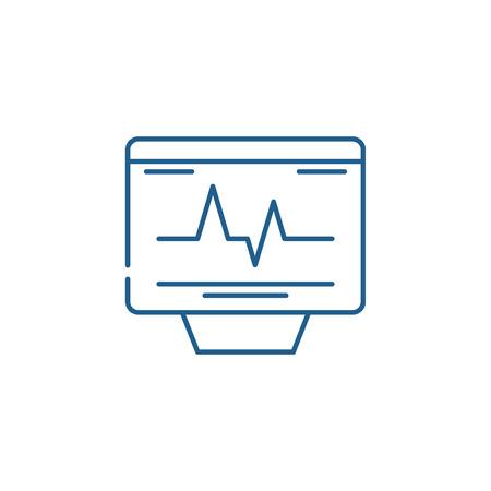 Cardiovascular check line concept icon. Cardiovascular check flat  vector website sign, outline symbol, illustration. Illustration