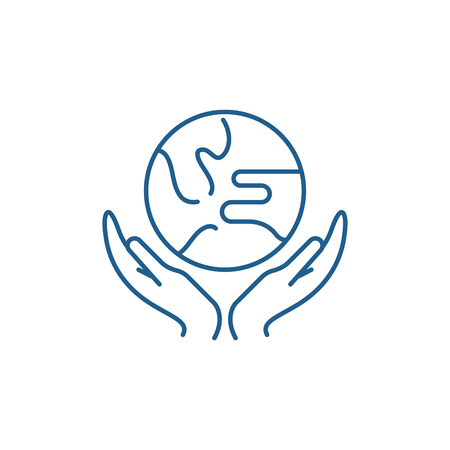 Caring for the world line concept icon. Caring for the world flat  vector website sign, outline symbol, illustration.
