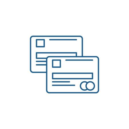 Cash cards line concept icon. Cash cards flat  vector website sign, outline symbol, illustration.