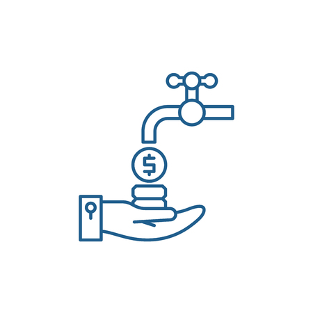 Cash flow line concept icon. Cash flow flat vector website sign, outline symbol, illustration.