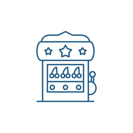Casino machine line concept icon. Casino machine flat  vector website sign, outline symbol, illustration.