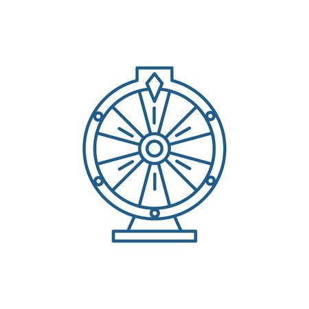 Casino roulette line concept icon. Casino roulette flat  vector website sign, outline symbol, illustration. Ilustração