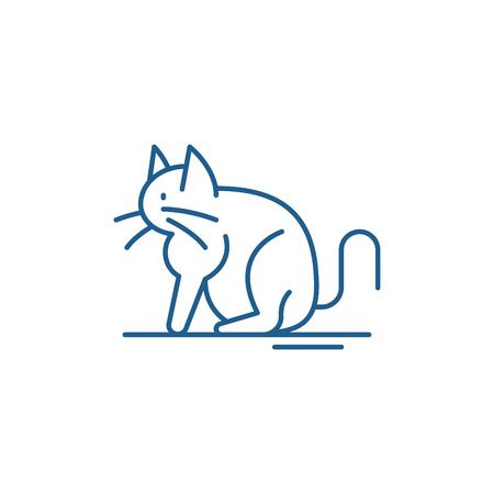 Cat line concept icon. Cat flat  vector website sign, outline symbol, illustration. Ilustrace