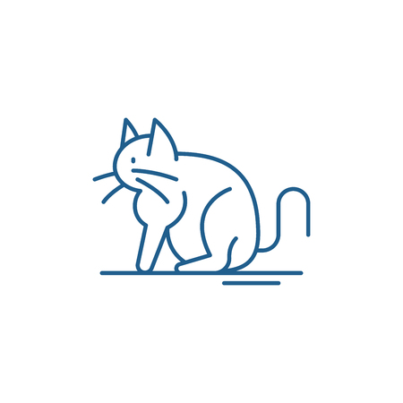 Cat line concept icon. Cat flat  vector website sign, outline symbol, illustration. Illustration