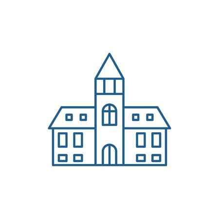 Kathedrale Symbol Leitung Konzept. Kathedrale flaches Vektor-Website-Zeichen, Umrisssymbol, Illustration. Vektorgrafik