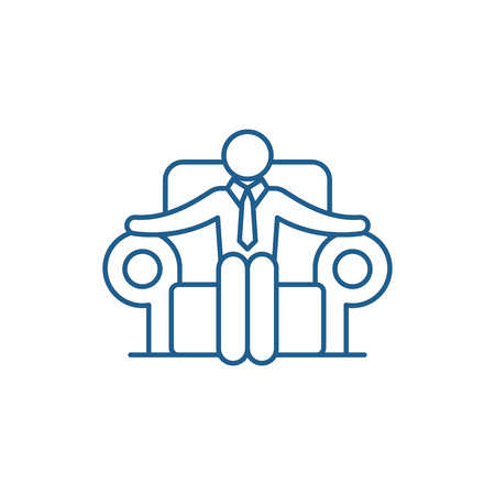 Ceo line concept icon. Ceo flat  vector website sign, outline symbol, illustration.