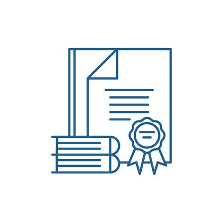 Certification line concept icon. Certification flat  vector website sign, outline symbol, illustration.